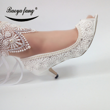 White Wedding shoes Bride fashion Open toe ankle strap shoes woman party dress shoes Peep Toe white lace flower bride dress shoes pointed toe stiletto middle heel wedding party shoes with ankle strap bridesmaid pumps