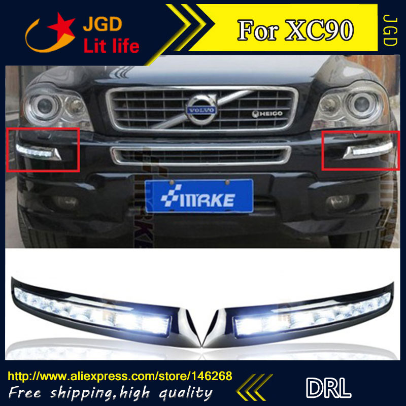 Free shipping ! 12V 6000k LED DRL Daytime running light for Volvo XC90 2007-2013 fog lamp frame Fog light Car styling 2pcs 12v 31mm 36mm 39mm 41mm canbus led auto festoon light error free interior doom lamp car styling for volvo bmw audi benz