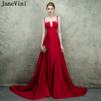 JaneVini Red Mother of The Bride Dresses 2018 Satin Sleeveless Sweep Train Beads Wedding Party Formal Dress A Line Evening Gowns