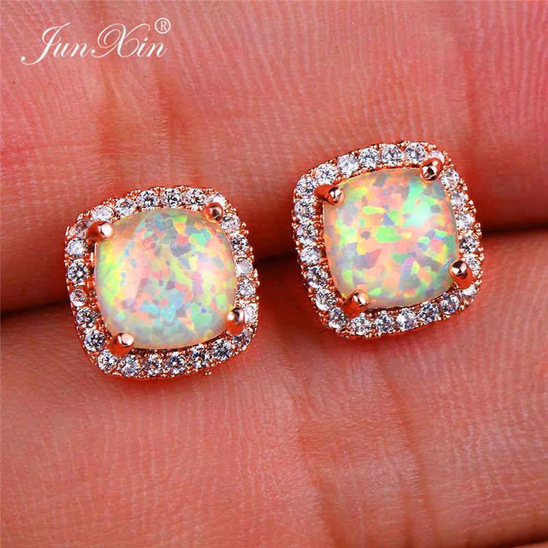 Boho Women Ladies White Fire Opal Earrings 18KT Rose Gold Filled Jewelry Vintage Double Zircon Wedding Stud Earrings