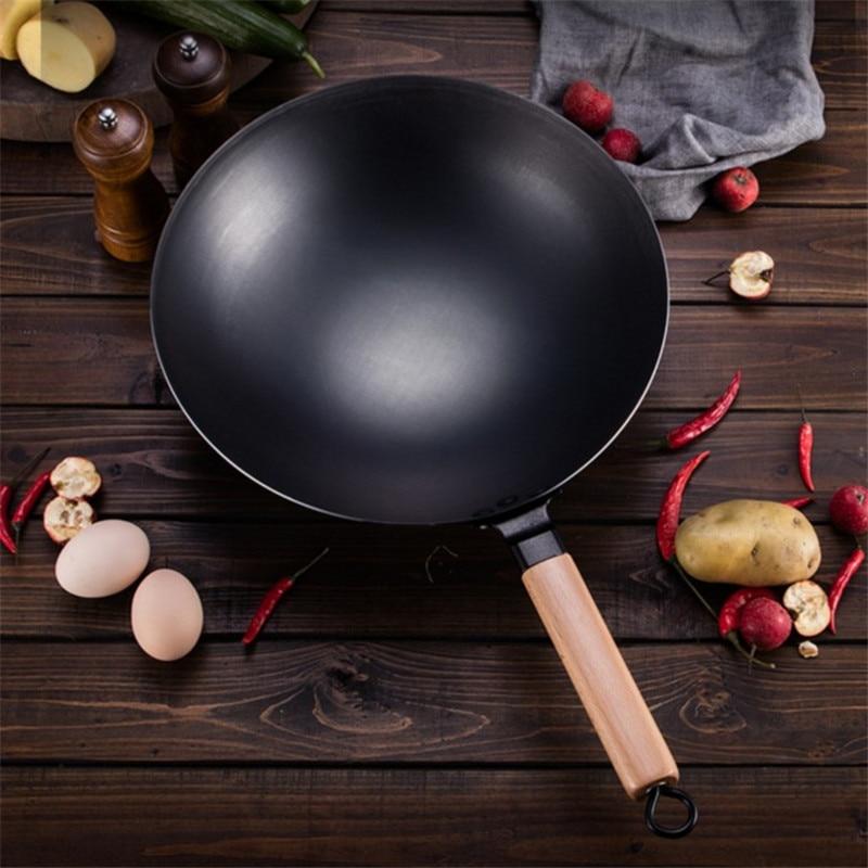 Wok de cuisson ménage grand pot de fer à l'ancienne Non enduit poêle antiadhésive fond rond wok Chef Wok frit - 2