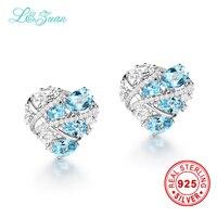 L & Цзуань модные Серьги 5.36ct природный топаз голубой камень Элегантный Клипсы для женщин ювелирные изделия стерлингового серебра Серьги