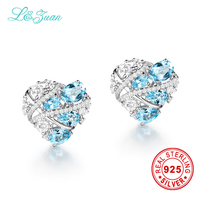 L Zuan Trendy Earrings 5 36ct Natural Topaz Blue Stone Elegant Clip Earrings For Women Sterling