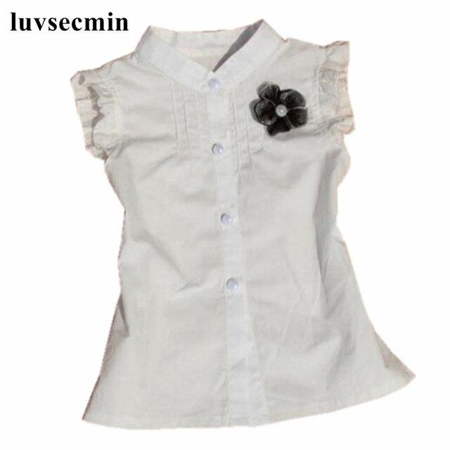 64dccd3c24 Verano nuevo 2019 bebé niño niñas blusa blanca flor sin mangas de algodón  de niña de