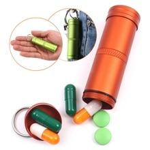 Водонепроницаемый контейнер для таблеток для кемпинга, для выживания, алюминиевая бутылка для лекарств, брелок для ключей, для улицы, для экстренной помощи, EDC, дорожные наборы, инструмент