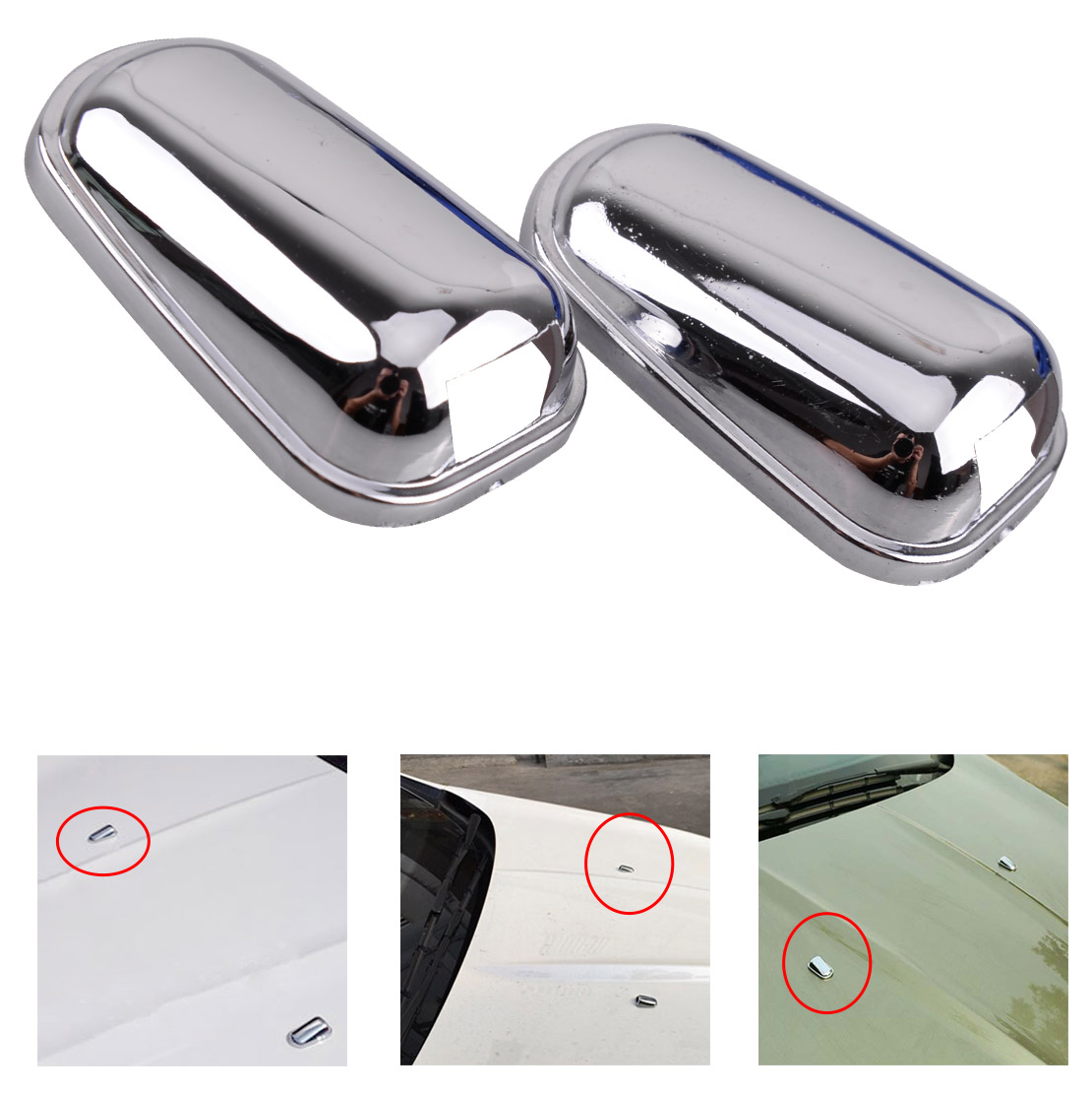 CITALL Car-styling 2pcs ABS Chrome Plated Windscreen Washer Cover Spray Nozzle Trim Fit for Ford Kuga Escape 2013 2014 2015 2016 image