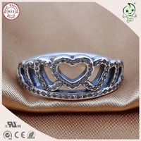 Newest Arrival Famous Brand Silver Letter Accessories Big 100 925 Sterling Silver Crown Ring