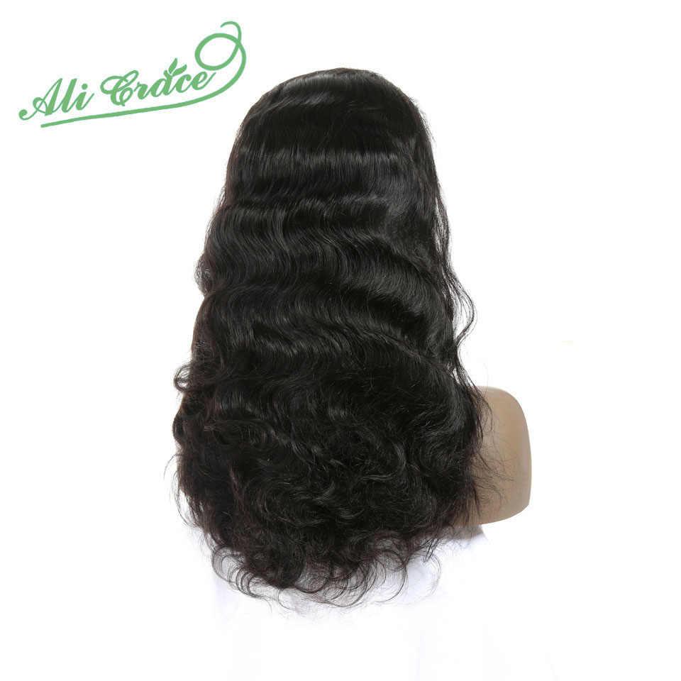 Али Грейс Малайзия волна тела 13*6 кружева фронта человеческих волос парики 150% плотность предварительно накладка из волос линия с волосами младенца Remy человеческих волос