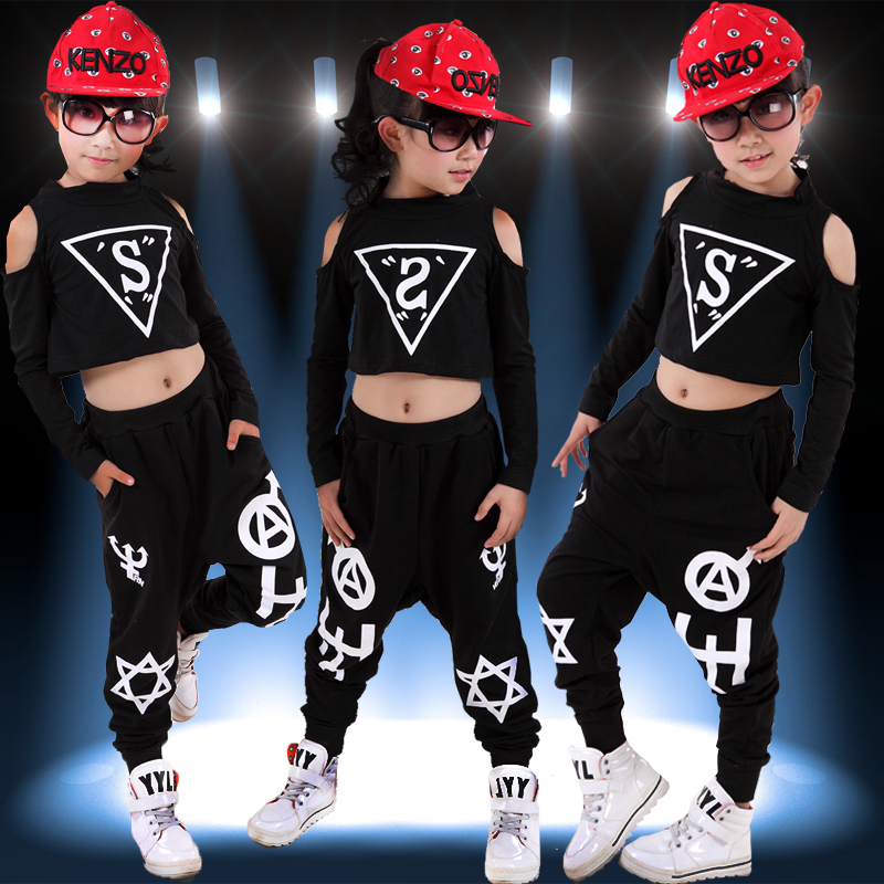 2016 spring summer children's clothing set Costums black white jazz Hip Hop dance Pants & T-shirt kids suits twinset saucony кроссовки saucony jazz lowpro blue white 10