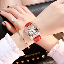 Luxury Brand Women Rhinestone Watches High Quality Square Gold Dial Quartz Watch Ladies Elegant Dress Watch Relogio Feminino Hot