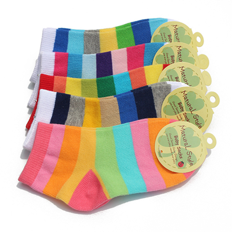 3 Pairs / Lot Fashion Toddler Baby Socks Boy And Girl Rainbow Striped Cotton Socks Kids In Tube Socks Children Sock 2-12 Years