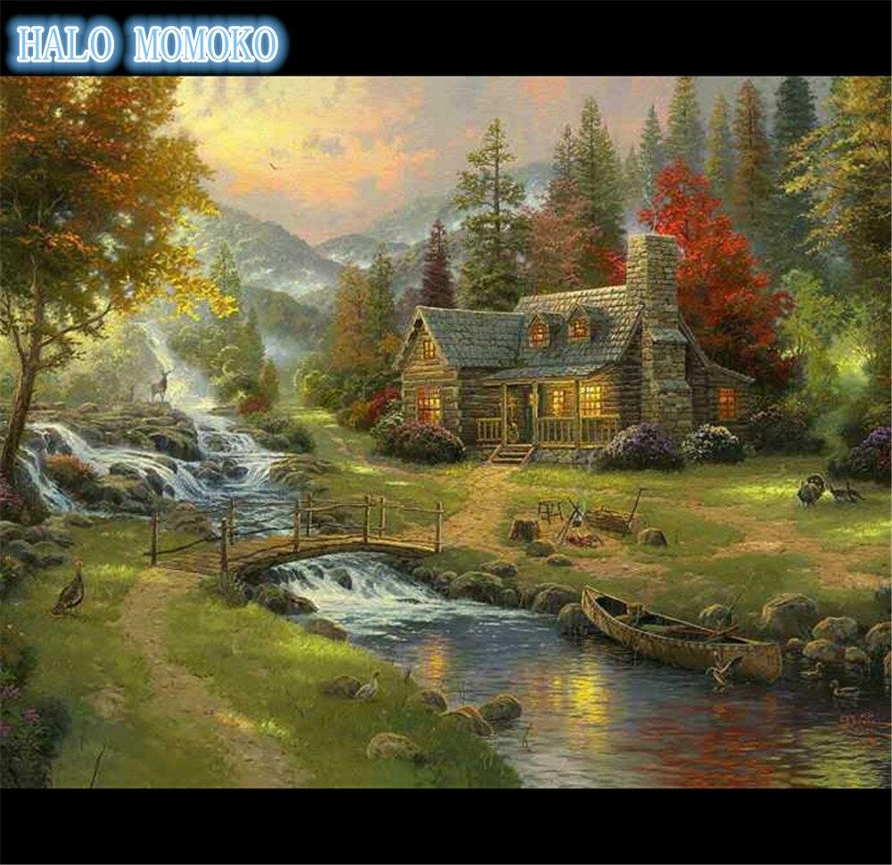 kosočtverec výšivka strom a dům plná mozaika 3d malba výšivka kutilství kosočtverec malba drahokamu výšivka