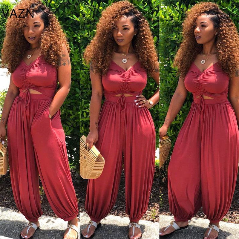 Women's Clothing Cheap Price Vazn 2019 Fashion Design Solid Jumpsuit Red Streetwear Jumpsuit Sexy Women Sleeveless Lantern V-neck Long Lace Up Rompers Als027 Lustrous Surface