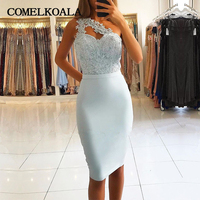 Elegant Cocktail Dress Short One Shoulder Appliques Beaded Sexy Backless Tea Length Womens Formal Custom Plus Size Party Gowns
