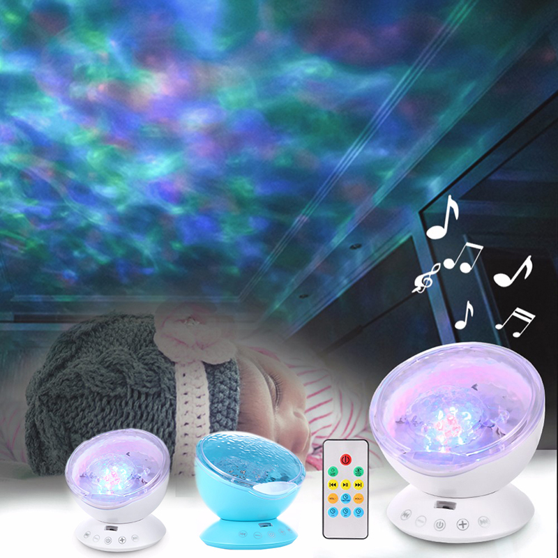 New Remote Control Ocean Wave Projector 12 LED 7 Colors Night Light - Night Lights - Photo 4