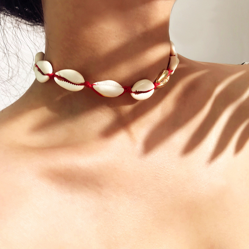 Boho Seashells Collar Choker Necklace Women Natural Shells Bohemian Jewelry Choker Simple Bracelet for Woman Girls Gift in Choker Necklaces from Jewelry Accessories