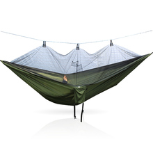 Ultra light outdoor hammock with mosquito net double parachute cloth adult rollover camping swing