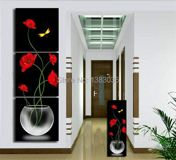 Hand Painted Modern Red Black Oil Painting On Canvas Abstract Flower