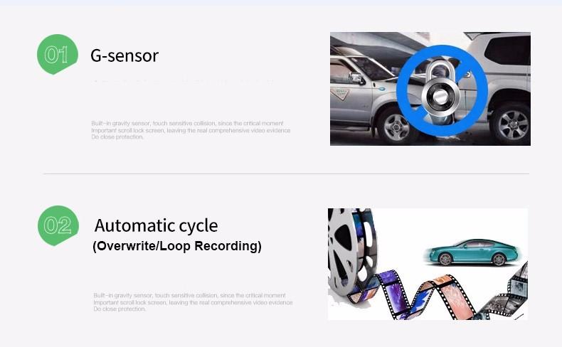 E-ACE Car Dvr Camera Led Lights Blue Rearview Mirror FHD 1080P Night Vision Video Recorder Dual Lens Auto Registrator Dash Cam 7