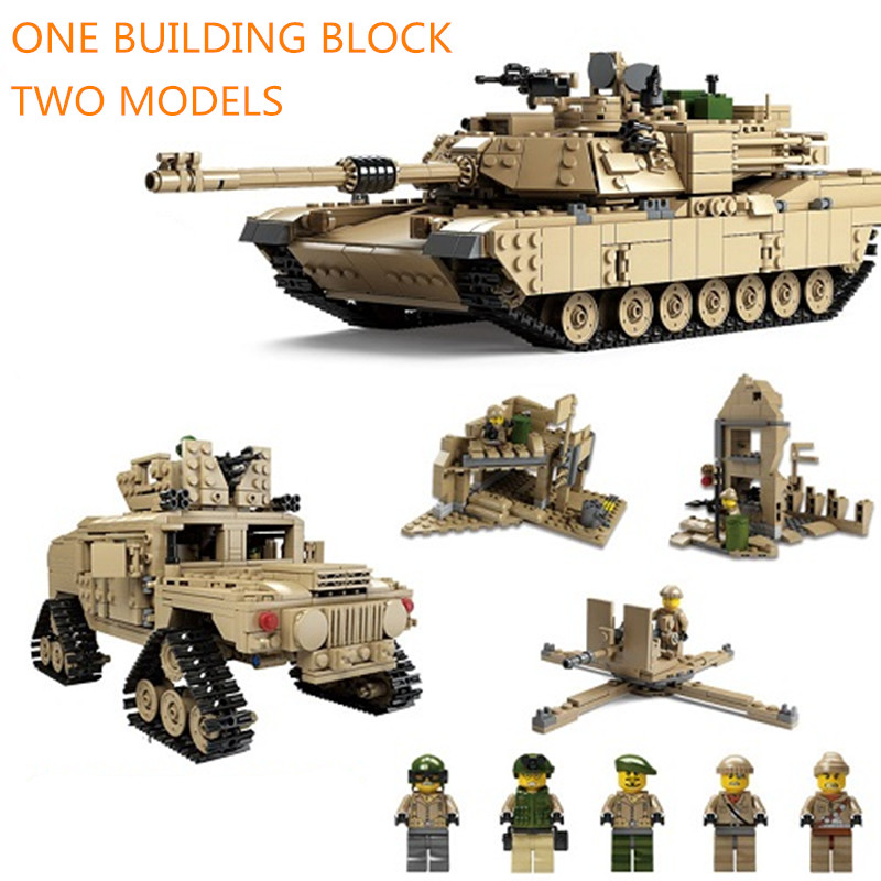 Kazi 1463pcs Bricks Military M1A2 <font><b>Tank</b></font> Abrams Main Battle <font><b>Tank</b></font> 2in1 Building Block Sets Deformable Blocks Hummer Models Toys image