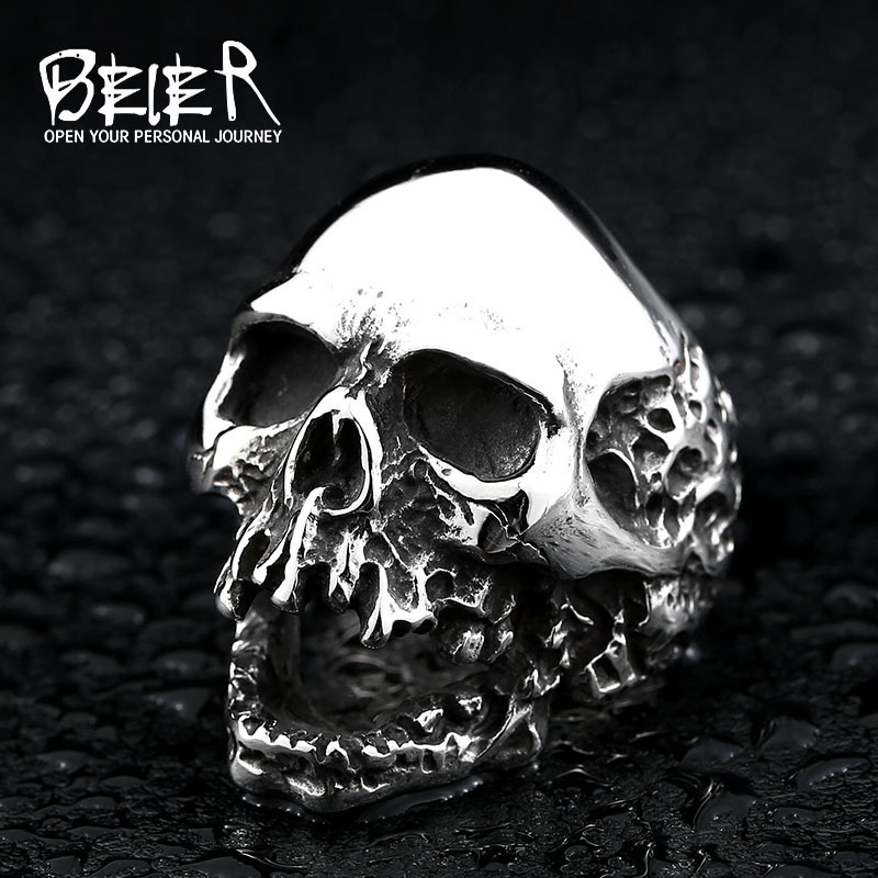 Beier home  Beier new store 316L Stainless Steel ring high quality skull punk Biker ring for men  fashion jewelry LLBR8-382R