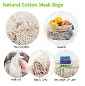 Image 5 - Reusable Produce Lagerung Tasche Eco Freundliche Baumwolle Mesh Taschen Obst Gemüse ecologico Lagerung Taschen Hause Küche Veranstalter