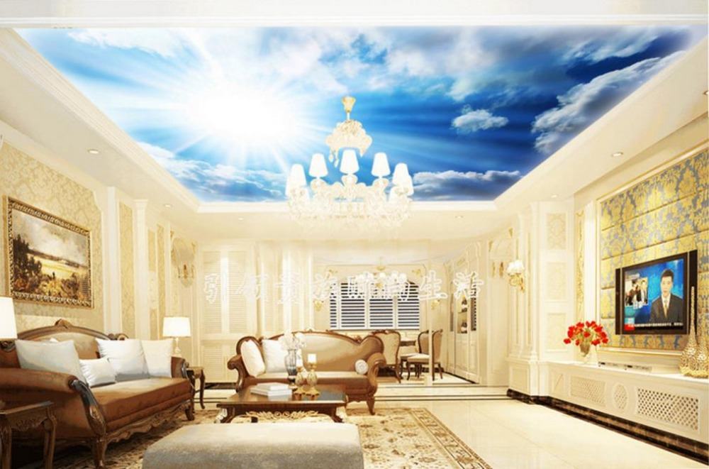 3d Ceiling Wallpaper lifelike Blue Sky And White Clouds 3d Wallpaper ...