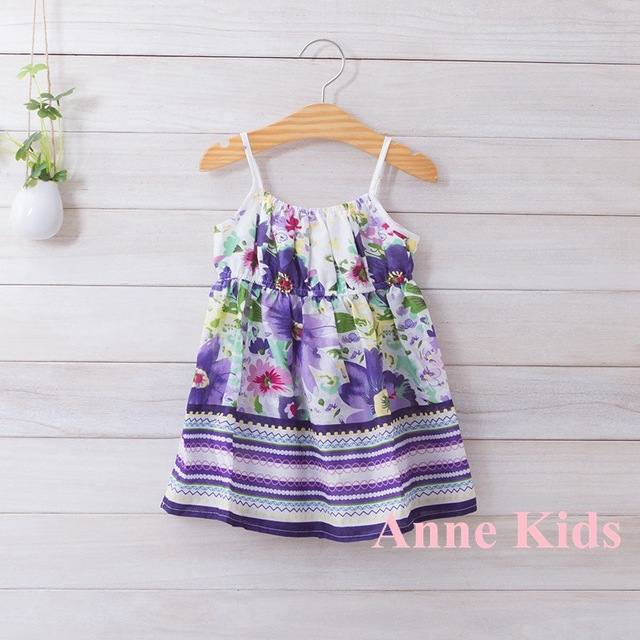 2017 New summer,girls floral slip dress,children beach dress,cotton,1-6 yrs,5 pcs / lot,wholesale kids clothing,1100