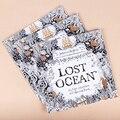 1 PC enfants adulte anglais édition perdu océan Inky coloriage livre tuer le temps peinture dessin livres 24 Pages papeterie cadeaux
