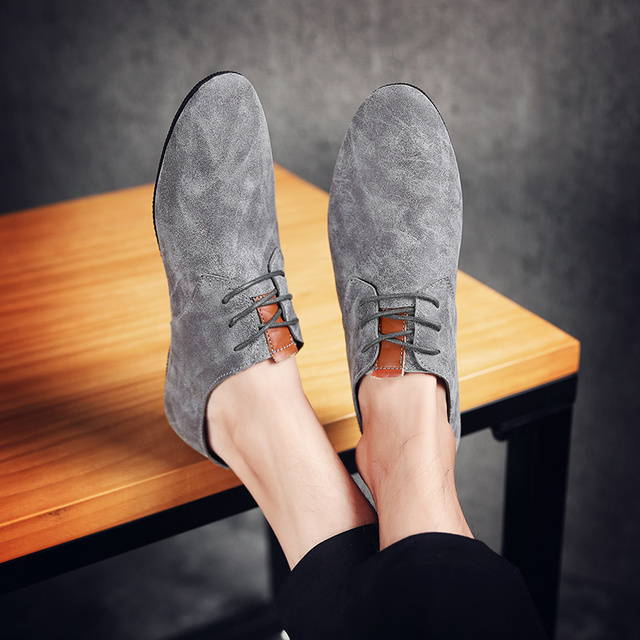British Style Men's Casual Shoes Lace-up Loafers Comfortable Soft Cow Suede Men Flats Breathable Men Leather Loafers Moccasins 8