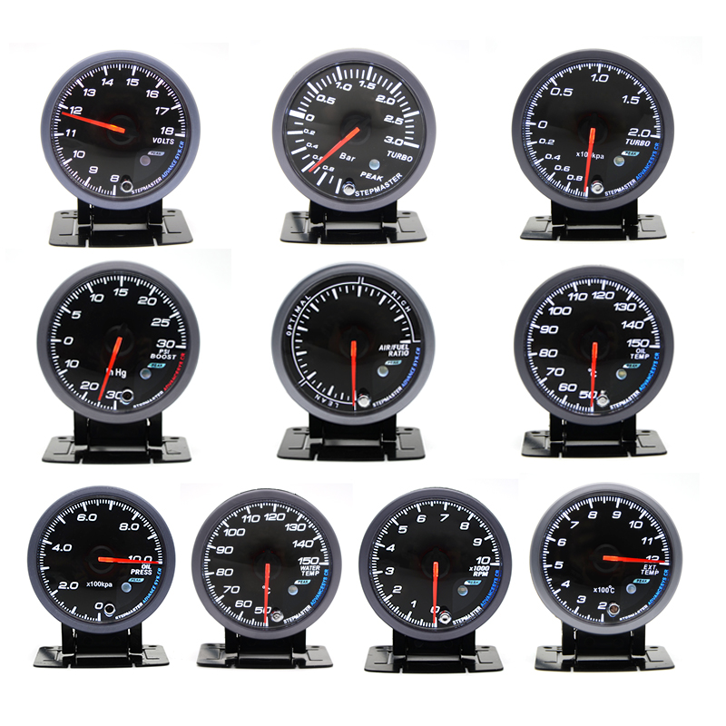 60MM Black Face Boost turbo/Water/Oil temp/Oil press/Voltmeter/Air fuel Ratio/ Exhaust gas temp/tachometer gauge Dual Led Color cnspeed 2 52mm car boost gauge bar psi exhaust gas temp water temp oil temp oil press air fuel gauge voltmeter tachometer