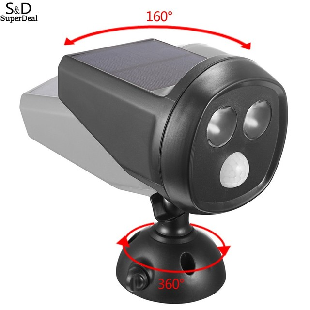 Elifine 2 LEDS Solar Motion Sensor Light Wall Mounted Outdoor IP65 Waterproof Garden Lawn Path Security Spotlight #45-23