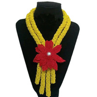 Dudo Store Bridal Jewelry Set Yellow And Red Godki Necklace Set 2 Rows Crystal Beads Made Nigerian Weddings Jewellery Set Women