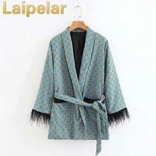 Fashion jacket women loose kimono coat bow tie sashes pockets tassel decorate outerwear oversized ladies autumn Laipelar coat brown fashion self tie design midi outerwear with side pockets