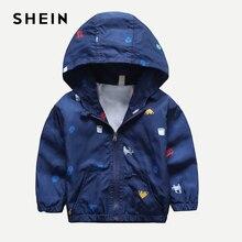 Шеин Kiddie обувь для мальчиков темно автомобиль печати куртка с капюшоном пальто Детская одежда 2019 Весна уличная одежда с длинным рукавом Повседневная куртк