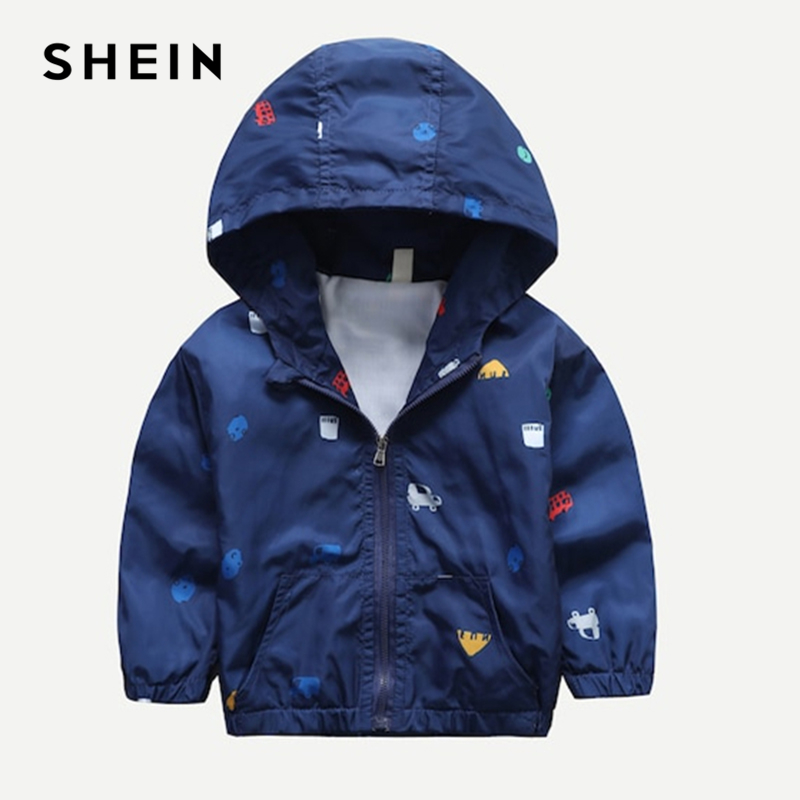 SHEIN Kiddie Boys Navy Car Print Hooded Jacket Coat Kids Clothes 2019 Spring Streetwear Long Sleeve Casual Jacket For Children christmas snowflake print long sleeve flocking sweatshirt