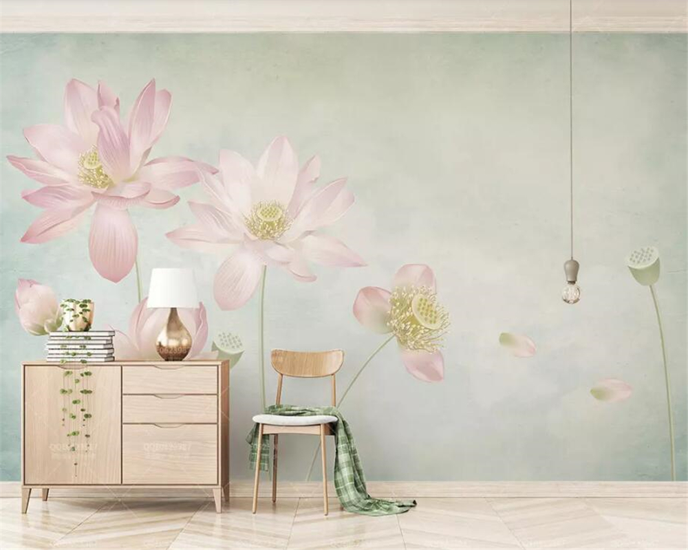 Beibehang Custom Wallpaper Hand Drawn Lotus Flowers Floral Modern Home Living Room TV Background Wall Wallpaper For Walls 3 D