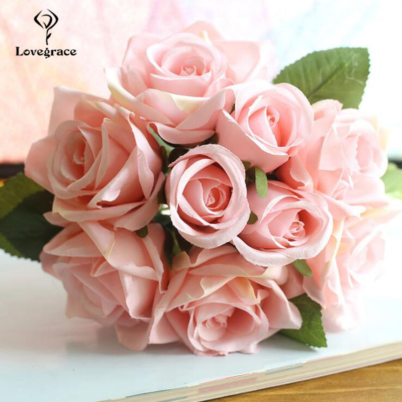 Silk Roses Wedding Bouquet For Bridesmaids Bridal Bouquet White Pink Artificial Flowers Mariage Supply Home Decoration Lovegrace