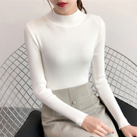 New half neck pull over short sweater women's slim long sleeved bottoming sweater