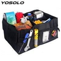 YOSOLO Universal Auto Car Back Seat Organizer Portable Storage Bag 3 Compartments Foldable Car Styling Trunk