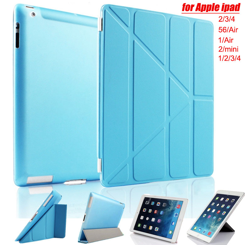 Ultra Slim Flip Smart Silk texture Back Cover Case for Apple i Pad 2 3 4 5 6 air 1 Air2 Mini 2 3 4 Pro with Sleep Stander funda