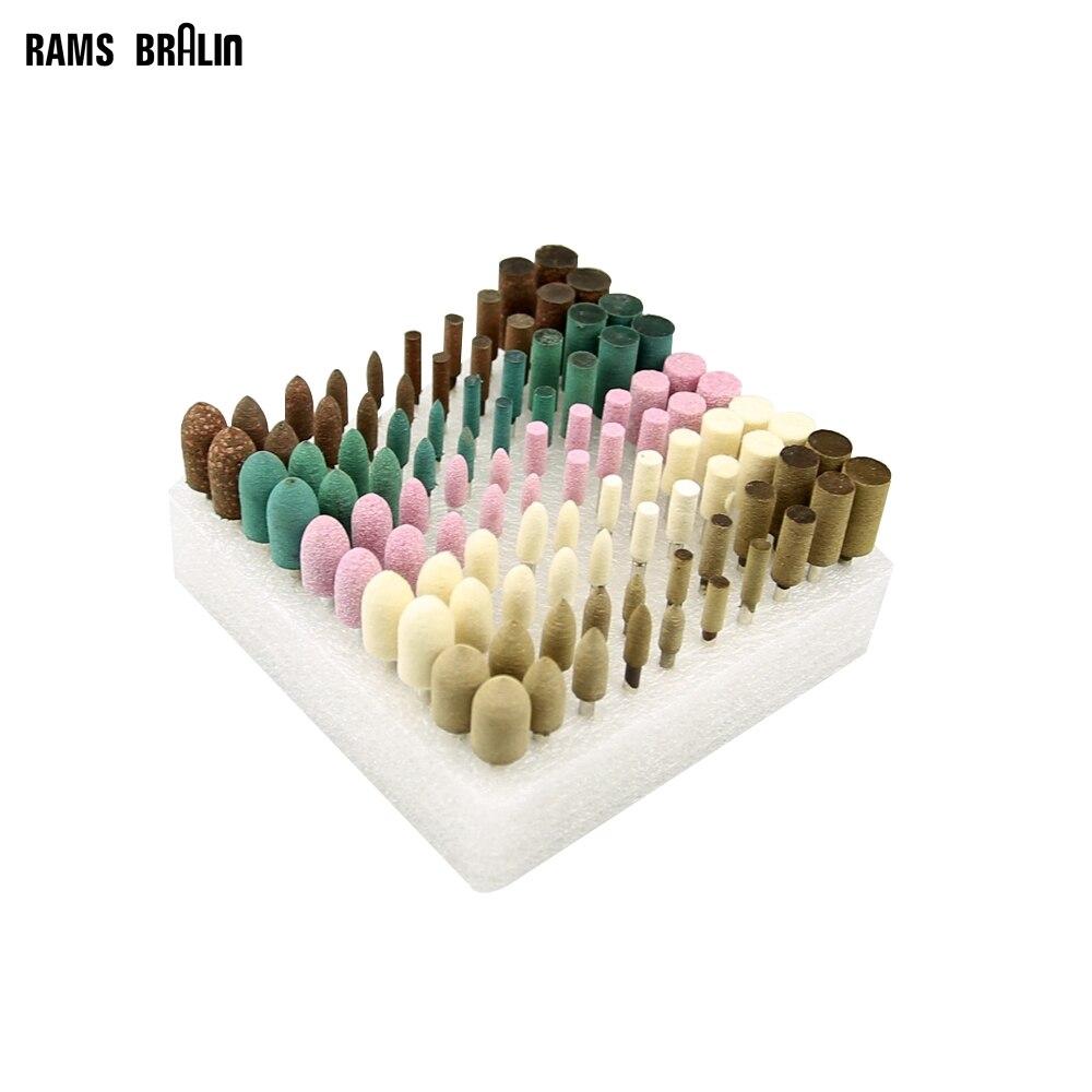 100 pièces/boîte 3mm Arbre Monté Point Roue De Polissage Bobs pour Moule Broyage Ébavurage Dremel Die Grinder Drill Outils