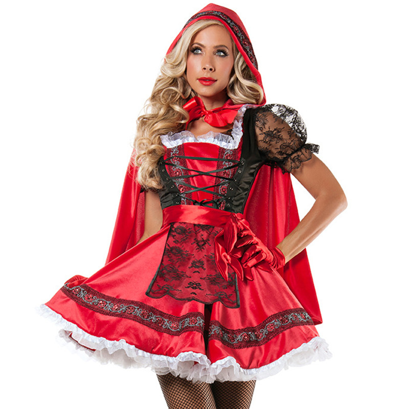 Halloween high quality Sexy Lace Little Red Riding Hood Dress Small Red Cap cosplay Costume Masquerade Party Costumes for Women