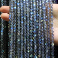 AAA Natural Top Grade Grey Moonstone Labradorstein Semi Precious Stone Beads For Jewelry Making DIY 4