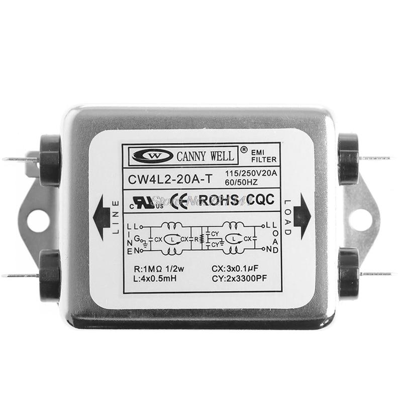 2019 neue AC 220V 50/60 HZ Power EMI Filter CW4L2-20A-T Monophasic Verbesserte Drop Schiff Dropship