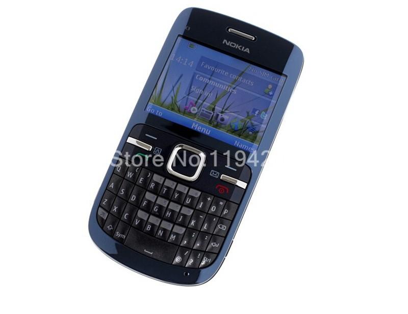 Refurbished nokia c3-00 WIFI 2MP bluetooth camera Jave unlocked phone blue 3