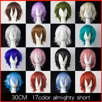 HSIU 30cm Short Wig Black White Purple Blue Red High Temperature Fiber Synthetic Wigs Costume Party