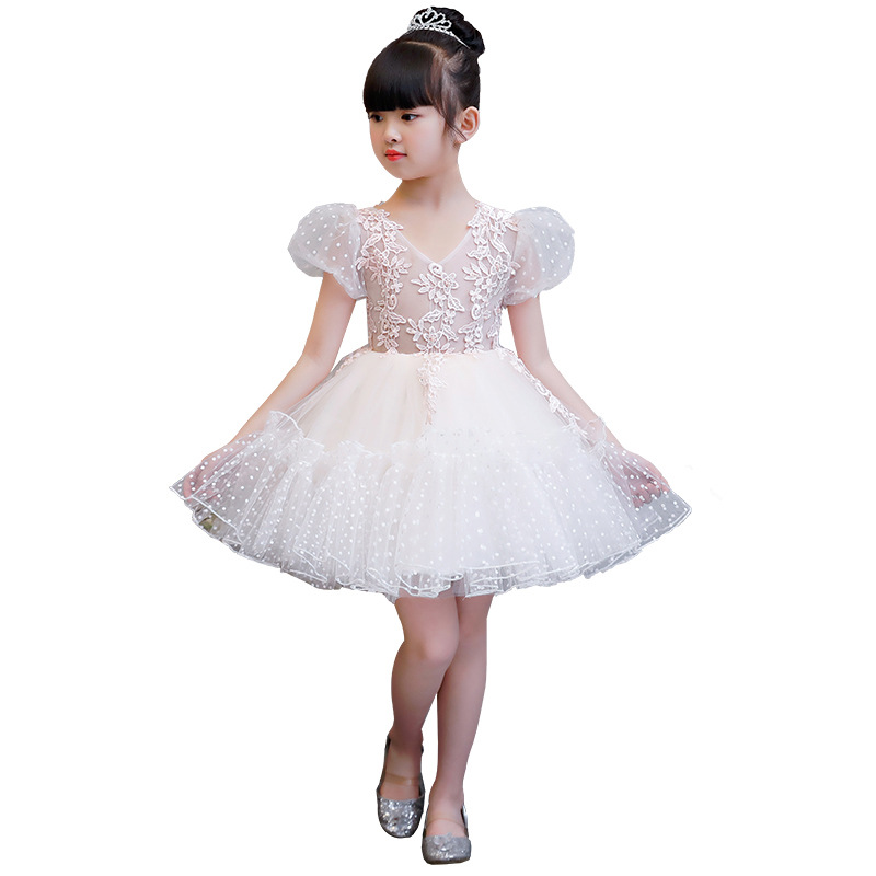 New Flower Girl Dress White Ball Gown Kids Pageant Dress Wedding Appliques  Girls Party Dress Birthday. артикул  32890535087 b2e3df22e6e6