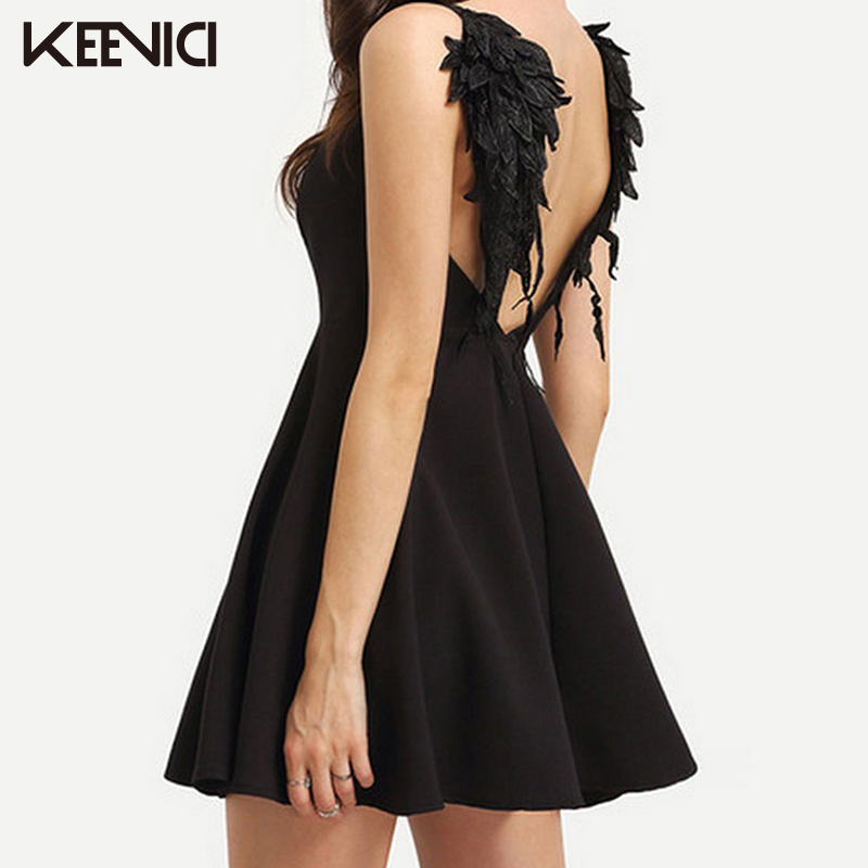 fbf5a6fe13 KEEVICI Summer Club Party Dresses 2017 Fashion Women European Sexy Halter  Hollow Lace Angel Wings Beach Beach Solid Color Dress