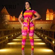 XURU Summer New Women's Jumpsuit Print Tie-dye Skinny Jumpsuit Two-piece Large Size Wide Leg Pants Set недорого